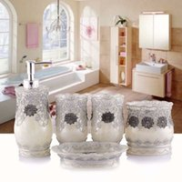 Wholesale New hot sale Bathroom Accessory Set in Tray Soap Dispenser Cup Toothbrush Holder