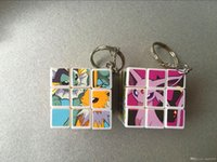 Wholesale 3 cm Mini Poke Pikachu Magic Cube Puzzle Keychain Magic Game magic Square key ring learning education good Gift toys E1564