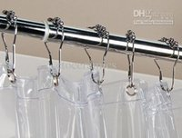 Wholesale x4cm CHROME POLISHED SATIN NICKEL ROLLERBALL SHOWER CURTAIN RING RINGS HOOKS Lots5000