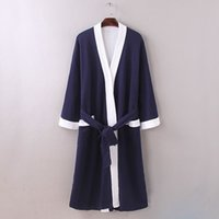 Wholesale New men waffle cotton bathrobes men bathroom spa robe male plus size pajamas Traditional Yukata Sleepwear
