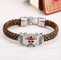 Wholesale Anime One Piece Skull Naruto Bracelet Unisex Cosplay Leather Woven Style Bangle Cute for Fans Magnetic Fashion Jewelry Pulseras
