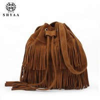 Wholesale SHYAA New Women bag European simple bucket bag retro fringed handbag ladies Tassels Shoulder bag women Messenger Bag female fashion