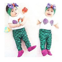 band t shirts baby - 2016 Summer Baby Girl Clothing Sets Infant Short Sleeve T shirt Tops Mermaid Long Pants Hair Band Toddler Outfits Kids Suit