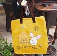 al por mayor amarillo bolsa reutilizable-Las mujeres lindas del saco del oso del nuevo de la historieta del amarillo de la lona empaquetan el bolso de compras reutilizable B-243F de la madre del bolso de la impresión libera compras