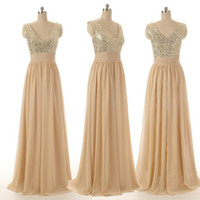 art design images - Bling Bridesmaid Dresses LOng Sequin Crystals Pearls Cheap Price V Neck Zipper Back Sleeveless A Line Style Fashion Design Long Prom Shiny