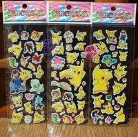 Wholesale 2016 children boys girls TOP favorite cartoon Movie characters stickers Cute Action Figures Pikachu wall sticker decorate the room