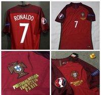 Wholesale 2016 Euro CUP final Portugal Soccer jersey kits Ronaldo jersey Portugal maillot de football shirt