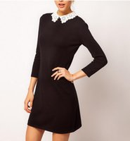 asos style - 2016 New Spring Autumn Korean Style Black Women Dresses Sleeve Lady ASOS knit Dress With Lace Collar