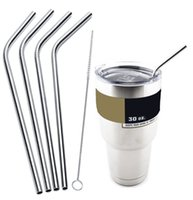 Wholesale 4 Kit Fits Yeti Tumbler Rambler Cups Straws Cleaning Brush Set Retail Packing Stainless Steel Straw Metal Drinking Straw Beer Juice