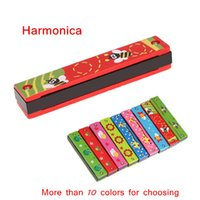 Wholesale Colorful Harmonica Holes Tremolo Harmonica Kids Musical Instrument Educational Toy Wooden Cover Top Quality