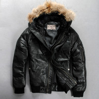 air force hoods - Factory Genuine Leather Duck Down Jacket Men Hood Real Sheepskin Air Force Pilot Thick Bomber Real Fur Parkas Winter Coats