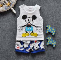 suits for 4 year old boys - 2016 Summer Cotton small boys baby cartoon shorts and vest suit breathable colors for boys years old boys sales