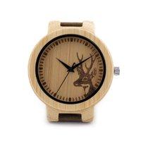 Wholesale Deer Elk Head Bamboo Wood Watches Men s Luxury Quartz Watch Bobo Bird Brand Designer Leather Band Wooden Wristwatches Gift Box