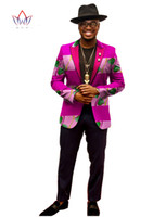 Wholesale Custom made Fashion Full Sleeve African Print Suit Dashiki Men Clothing Bazin Casual Men Homme WYN202