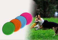 Wholesale Soft Flying Disc Dogs - Dog toys infants bites quality level silicone frisbee pets playing soft plate 18cm diameter colors available