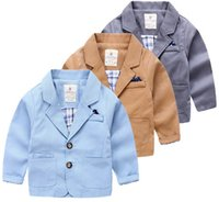 Wholesale Simple style boy suit handsome look kid coat with pockets three color blue brown dark gray