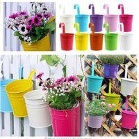 Wholesale Charming Colors Metal Iron Hanging Basket Bucket Flower Pot Hanging Balcony Planters Garden Plant Planter Home Decor E498E