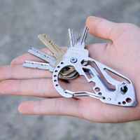 Wholesale Outdoor EDC Tools Multifunction Bottle Opener Key Clip Slot Type Screwdriver Wrench Divider Stainless Steel Carabiner Keychain