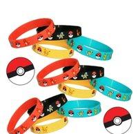 Wholesale Poke Pikachu Bracelets Charmander Squirtle Kids Women Men Wristband Silicone Bracelet Wristbands Fashion Accessories jewelry gifts
