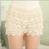 Wholesale 2016Summer Women Ladies Multilayer New Shorts Elastic High Waist Lace Shorts European Fashion Short Pants ZA0138