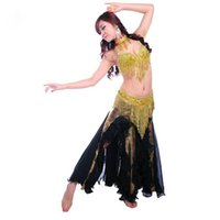 belly dancer bras - Performance Belly Dancer Clothes Outfit Beads Bra Tassel Waist Belt Fishtail Skirt with Necklace Belly Dance Costume Gold