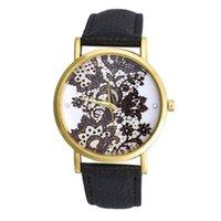 amazing auto glass - Overmal Amazing Vogue Women Round Lace Pattern Printed Faux Leather Analog Quartz Lady Dress Wrist Watches Female Clock Hot