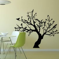 bathroom wall design - Black Caving out cutout Removable Mural Wall Stickers Wall Decal for Home Decor Big tree bird wall sticker