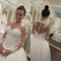 Wholesale 2017 Sheer Long Sleeves Ball Gown Wedding Dresses Lace Appliques Illusion Buttons Back Ivory Princess Puffy Bridal Gowns Aso Ebi Style