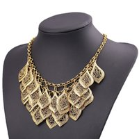 Wholesale New Fashion Star Jewelry Old Gold Color multilayer Hollow Leaves Carved Exaggerated Alloy Vintage Women Necklace