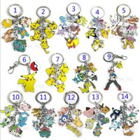 Wholesale Poke Ball Metal Keychain toys Style Children Zinic Alloy Poke Ball Sylveon Pikachu Charmander Bulbasaur Jeni turtle keyring B