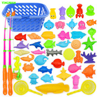 baby fishing pole - 46pcs set Plastic Magnetic Fishing Toys Set Game Poles Nets ket Magnet Fish Indoor Outdoor Fun years Baby