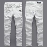Wholesale Luxury Brand Balmain Motorcycle Jeans Designer Denim Skinny Jeans Men Fashion Hip Hop White Jeans Men plus size Robin Jeans