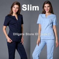 Wholesale uniformes hospital women medical nursing scrubs clothes dental lab coat slim surgical suit medical clothing summer medical gowns