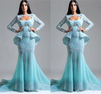 Wholesale Lace Beaded Mermaid Dubai Arabic Evening Dressess Crew Long Sleeves Tulle Evening Dresses Sexy Prom Gowns