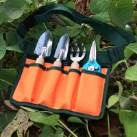Wholesale New Arrival set Mini Garden Tools Home Garden Small Spade Shovel Rake scissors Set Wood Handle Metal Head Bonsai Tools JR0008