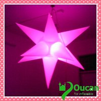 Wholesale m diameter inflatable led star for decoration at nightclub with