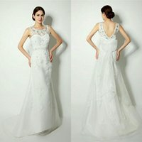 Wholesale Sheath Sweep Tailing Satin Beaded Wedding Dresses With Sheer Crew Neckline Beaded Bowknot Sash Bridal Gowns