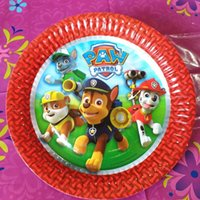 Wholesale 8pcs New Kid Boys Party Pawed Patrolling Dog Cartoon Theme Paper Plate Cake Dishes Birthday Favors Decoration Round Paper Plate
