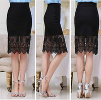 Wholesale 8841Walkeasy Lady skirt with lace red black colors viscose fibre Polyester S XL