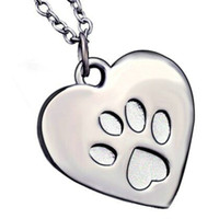 bear paw jewelry - 14pc jewelry golden alloy punk Peach Heart shaped dog cat Lion bear wolf Tiger handprint Paw prints footprints pendant necklace boy Hot x124