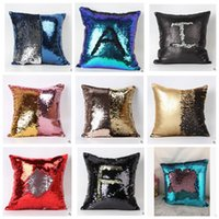 Wholesale Double Sequin Pillow Case cover Glamour Square Pillow Case Cushion Cover Home Sofa Car Decor Mermaid Bright Pillow Covers KKA402