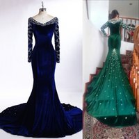 black velvet dress - Luxury Royal Blue Long Evening Dresses V Neck Long Sleeves Beading Crystals Rhinestone Mermaid Prom Party Gowns Custom Made