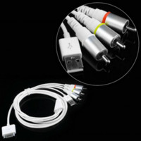 apple ipad video cable - 1PCs Video AV Cable to TV RCA USB Charger for iPad for iPod for iPhone S for iPod Touch Promotion