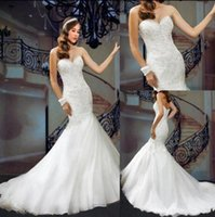 Wholesale 2016 Wedding Dresses Organza Sweetheart Floor Length Beaded Pearls Sequins Ruffled Mordern Mermaid Concise Grace Elegant Summer Style W13798