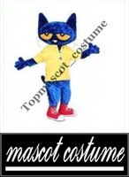 Wholesale High quality Pete the Cat Adult Size Halloween Cartoon Mascot Costume Fancy Dress