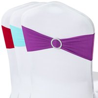 Wholesale 50pcs Spandex Lycra Wedding Chair Cover Sash Bands Wedding Party Birthday Chair Decoration Multi Colors Available