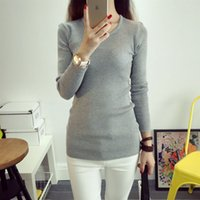 christmas jumpers - 2016 Women Pullover Candy Color Sweater Ladies O Neck Autumn Winter Bottoming Warm Slim Womens Jumpers Christmas Sweaters YF9681