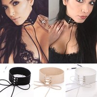 accessories for ties - European Exaggeration Black Velvet Leather Rope Tie Strap Wide Chokers Necklace Fashion Collar Necklace for Women Club Party Accessories