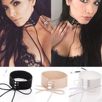 big choker - Lace up Choker Black Velvet Choker Necklace Women Gothic Chokers Neck Boho Jewelry Harajuku Big Chunky Necklace Collier