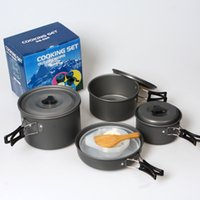 aluminium camp kitchen - Stainless Steel Cooking Pots and Pans Set Non stick Aluminium Kitchen Pots Set Camping Fire Maple Cookware for outdoor
